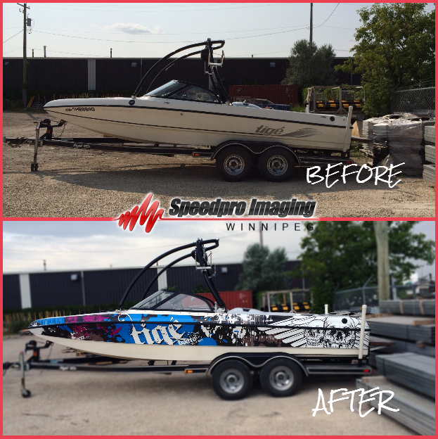Amazing Before And After Custom Boat Wrap Done By Speedpro Imaging Winnipeg Summer Boat Customgraphic Boat Wraps Custom Wraps Boat