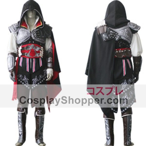 Assassin's Creed II Ezio Auditore da Firenze Cosplay Costume Black Edition