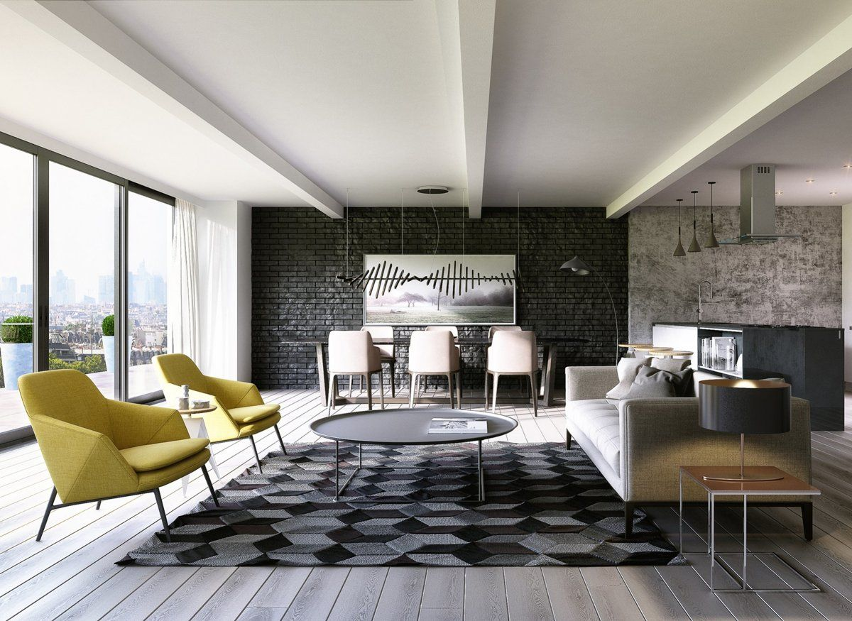 The Exposed Brick Accent Wall Uses Black Which Is Quite Unique And Gives The Brick Living Room Apartment Interior Black Brick Wall