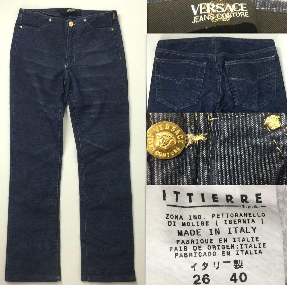 27a11bf214 VERSACE JEANS COUTURE Corduroy Pants Jeans Cropped Medusa Sz 26 40 ...