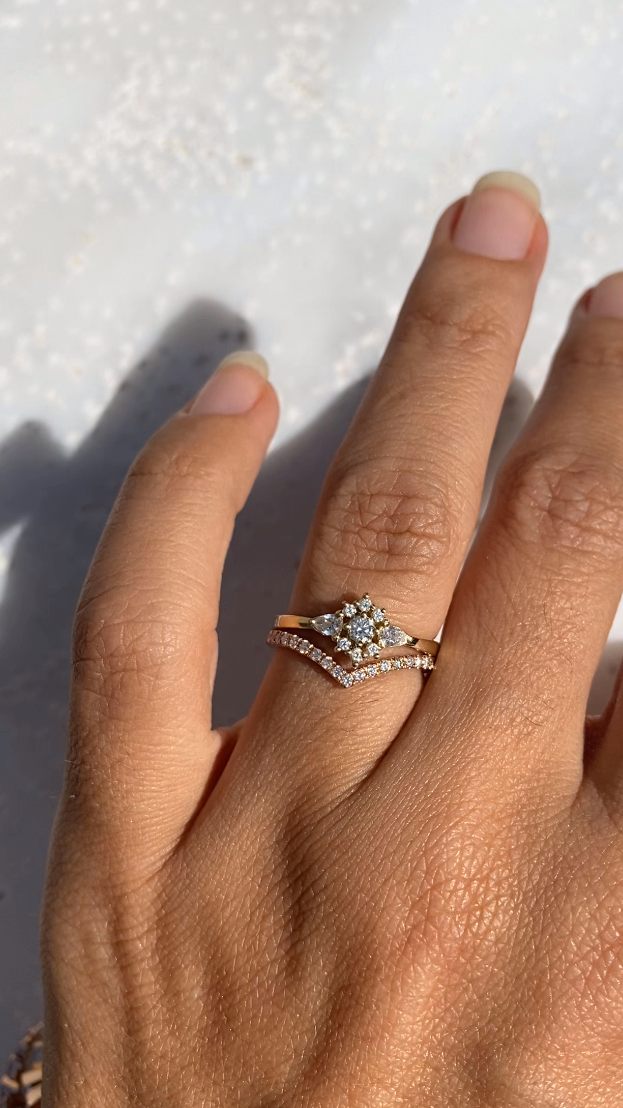Photo of Iris flower solid gold dainty engagement ring & Chevron Diamond V Ring, Diamond V-Ring