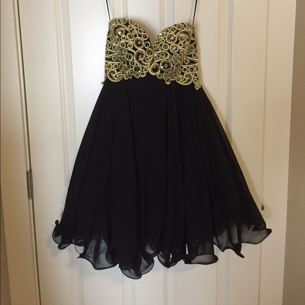 Fp short black and gold promhomecoming dress homecoming dresses