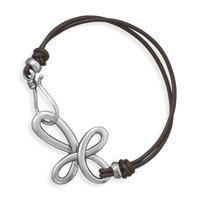 Silver sideways cross Leather Bracelet by beadedstylellc2013