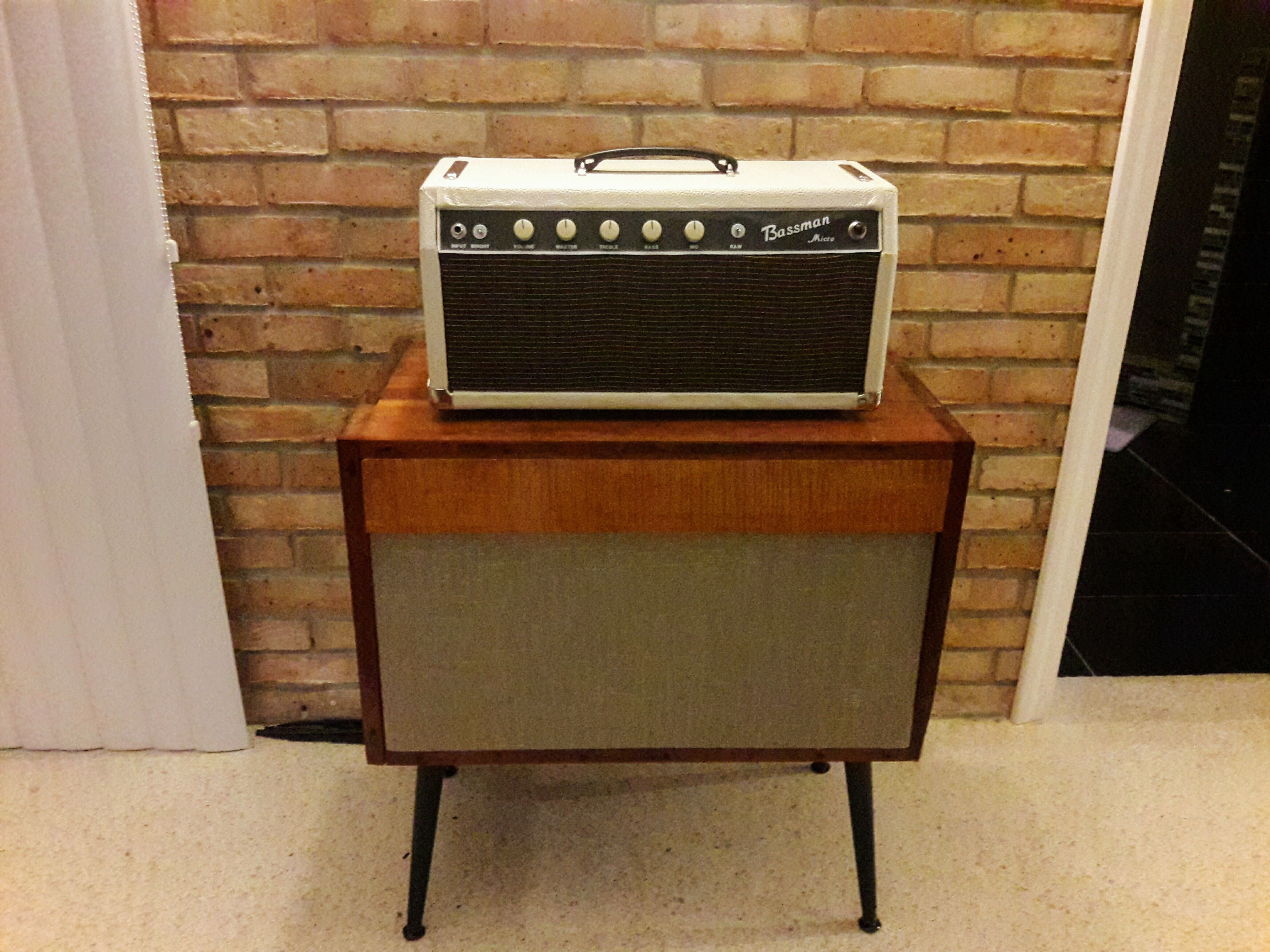 Bassman micro head with a refinished vintage hifi cab that I converted to an open back 2x10