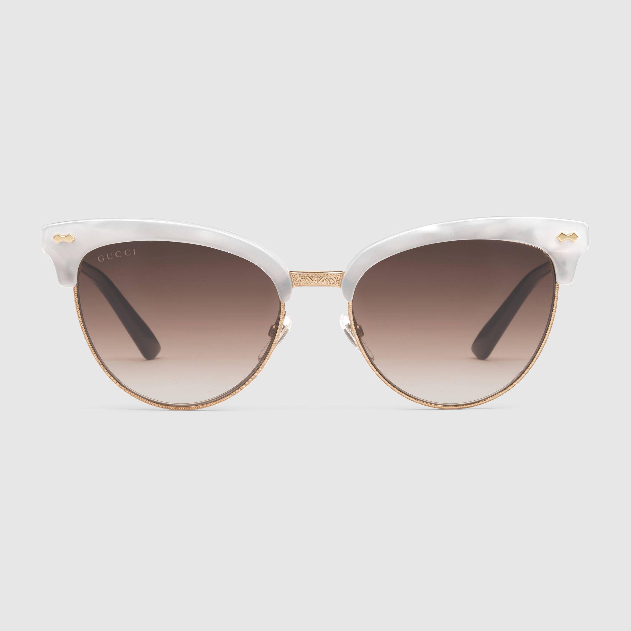 Katzenaugen-Sonnenbrille aus Azetat und Metall RtMjTuq