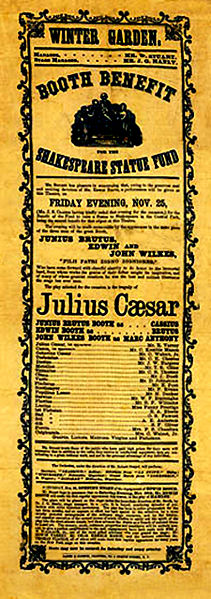 On November 25, 1864, for one night only, three famous actors—brothers Junius Booth, Edwin Booth, and John Wilkes Booth (yep, that one)—put on a benefit performance of Julius Caesar.