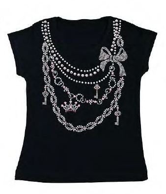 Pearl Necklace 328 Black Tshirt by Ouch!