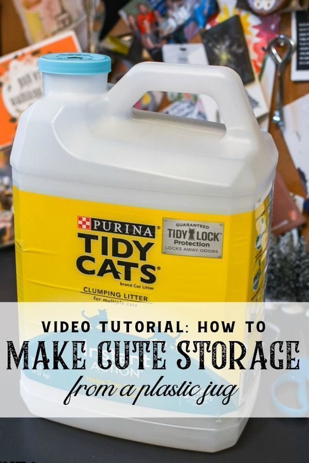 watch how to turn an old kitty litter jug into cute storage in this DIY video tutorial. A plastic jug can make cute storage for your organizing ideas. #organizing #upcycle #repurpose #DIYcraft #DIYstorage #craftroom #storagesolution #kittylitterupcycle #plasticjugs watch how to turn an old kitty litter jug into cute storage in this DIY video tutorial. A plastic jug can make cute storage for your organizing ideas. #organizing #upcycle #repurpose #DIYcraft #DIYstorage #craftroom #storagesolution # #plasticjugs