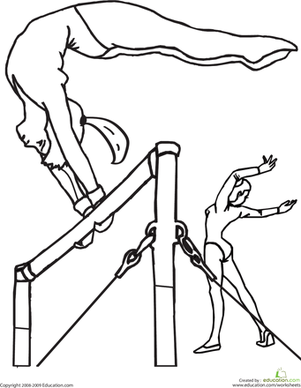 Gymnastics Bars Coloring Pages Sports Coloring Pages Gymnastics Coloring Pages