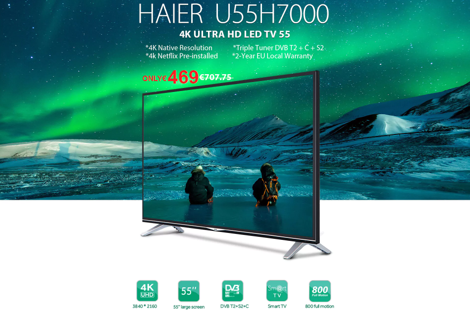 Haier U55H7000 55 inch 4K Ultra HD LED TV - 55 INCH BLACK | High