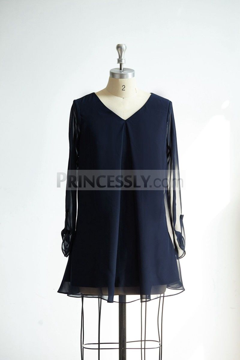 Long sleeves v neck navy blue chiffon short bridesmaidmother dress