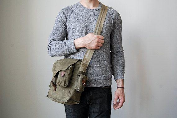 Vintage Military Messenger Bag // Bread Bag