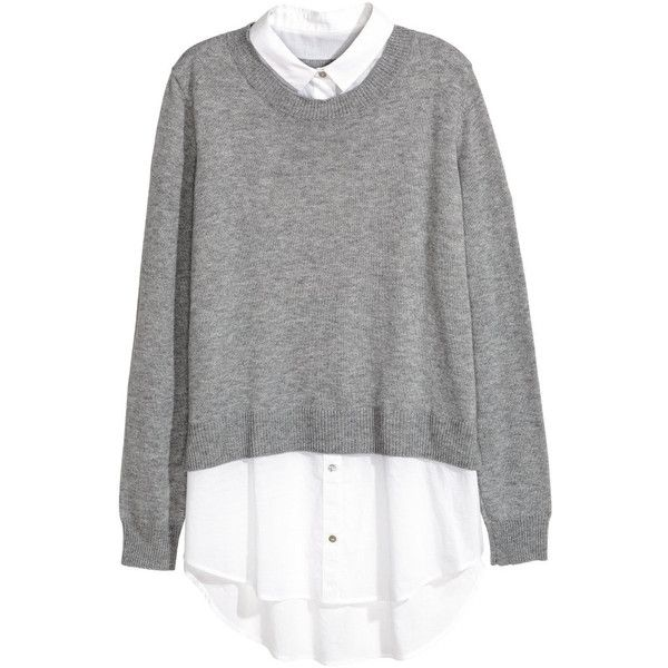 Sweater with Shirt Collar $34.99 ($35) ❤ liked on Polyvore