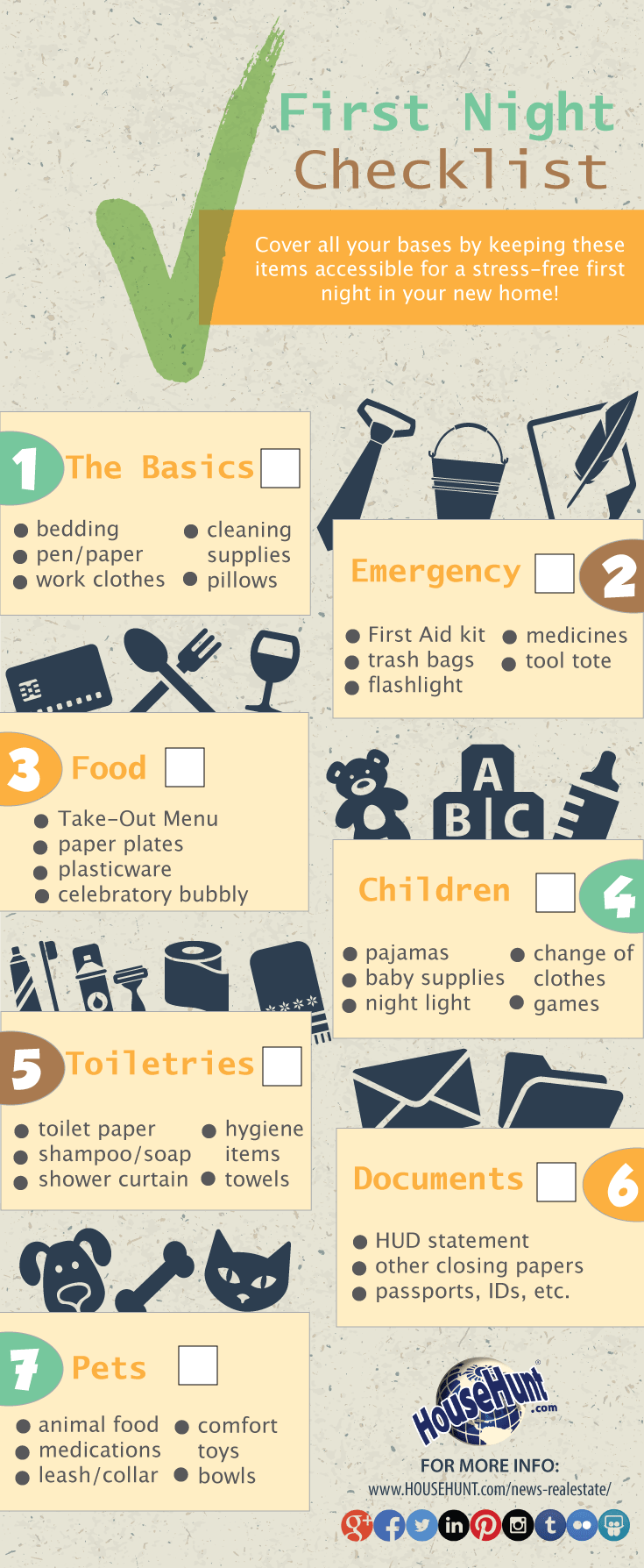 First Night In New House Checklist Infographic Househunt Real Estate Blog
