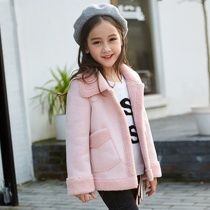 061b575dcddb 2017 Winter Girls Suede Coat Pilot Design Jacket Aviator Style Warm ...