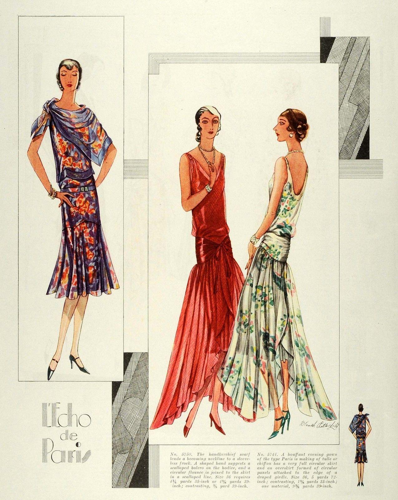 1929 Print Parisian Flapper Frocks Paris McCalls ...