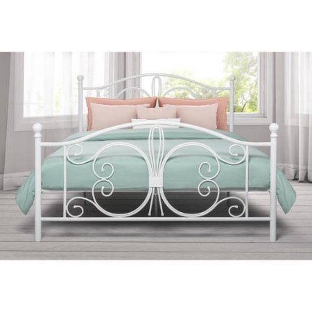 Dhp Bombay Metal Bed Full Size Frame With Underbed Storage White Walmart Com White Metal Bed Metal Beds Bed Design