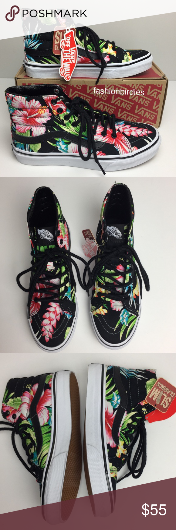 a33ef02c0f Vans SK8-Hi Slim Hawaiian Floral Black High Tops Beautiful tropical  Hawaiian floral high top skate shoes. Will sure to add a great pop of color  and ...