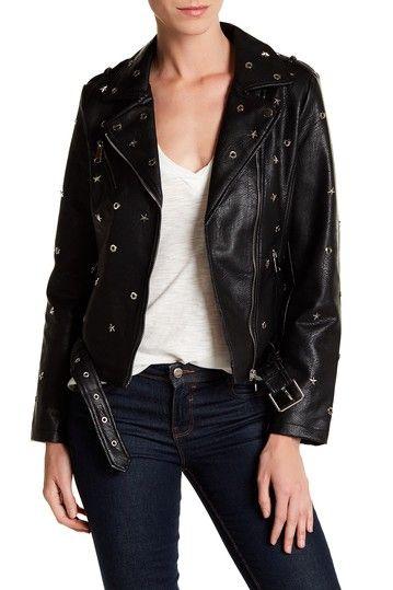VIGOSS Womens Studded Moto Jacket