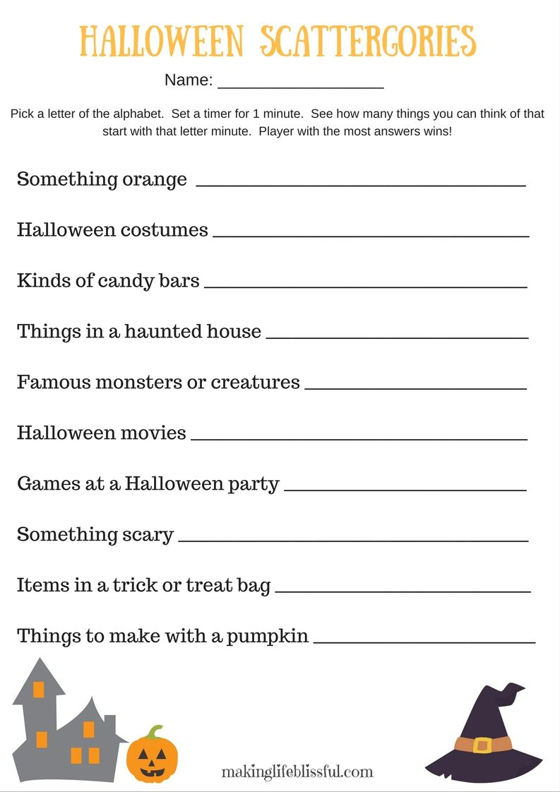 image regarding Autumn Trivia for Seniors Printable referred to as Printable Scattergories recreation for Halloween and Autumn season
