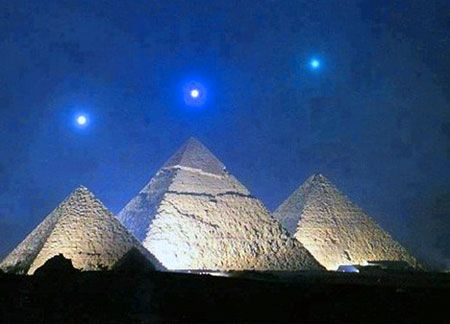 Venus, Mercury, and Saturn with the Giza Pyramids in Egypt. This phenomenon only happens once every 2,373-years