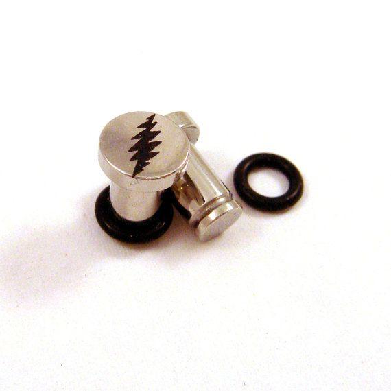 A Pair of Lightning Bolt Acrylic Ear Gauge Taper Hanger ...  |Lightning Bolt Gauges