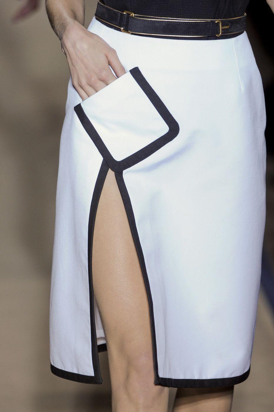 a7e8c4d80303 White skirt with slanted pocket  amp  black trim  fashion details    Yves  Saint