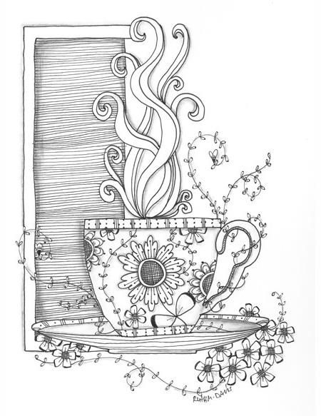 Tea cup coloring page | Zentangle Art | Pinterest | Colorear ...