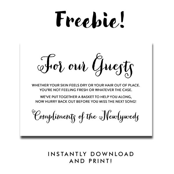 Free Printable Wedding Sign Black And White Peoni For Our Guests Bathroom Sign Instant Download Instant Download Printables Free Wedding Printables Printable Wedding Sign Wedding Bathroom Sign Printable