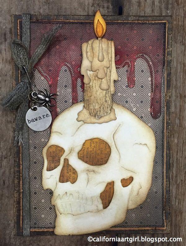 Richele Christensen: Tim Holtz Halloween Inspiration Series: Frightful Skull Card