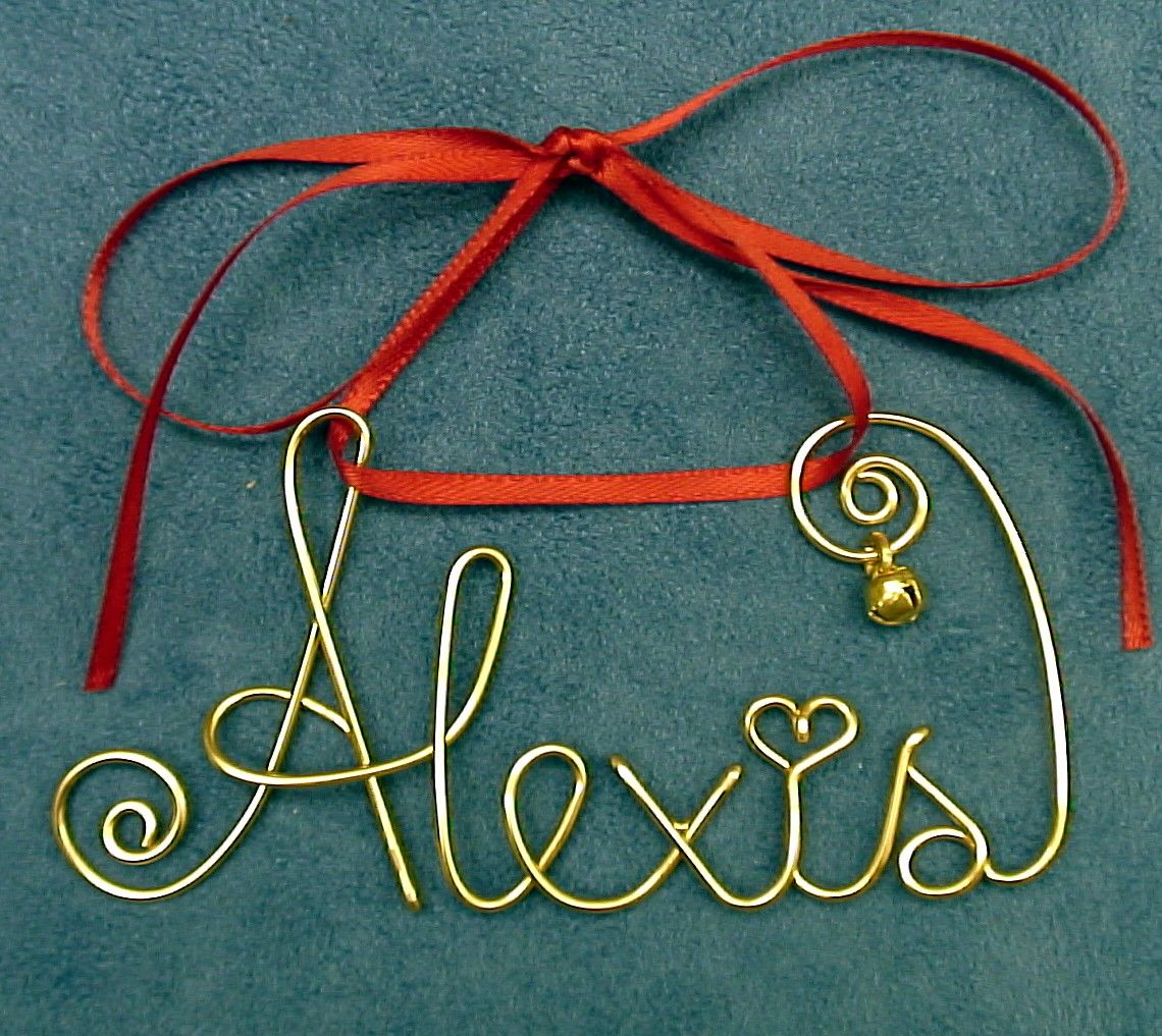 Personalized Gold/Silver Wire Name Christmas/Holiday Ornament/Gift ...
