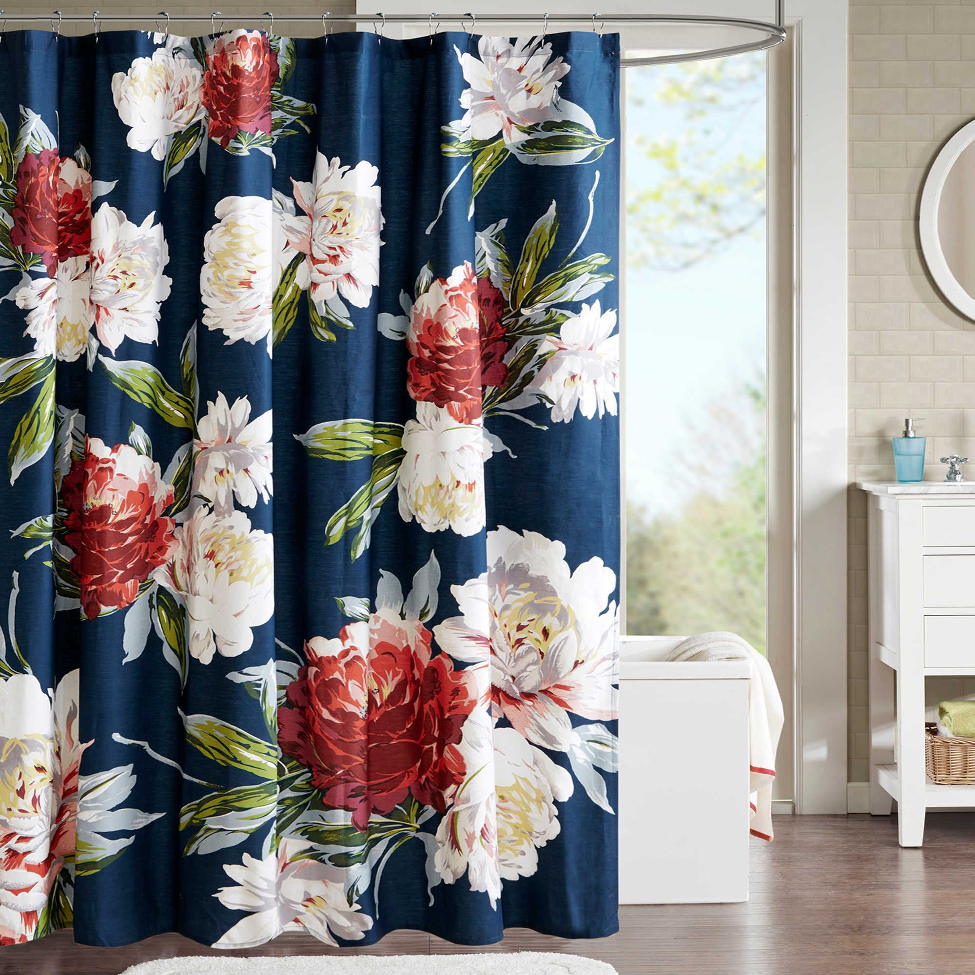 Love This Navy Blue Floral Shower Curtain For Our Guest Bathroom It Was Out Of Stock Onli Colorful Shower Curtain Fancy Shower Curtains Pretty Shower Curtains