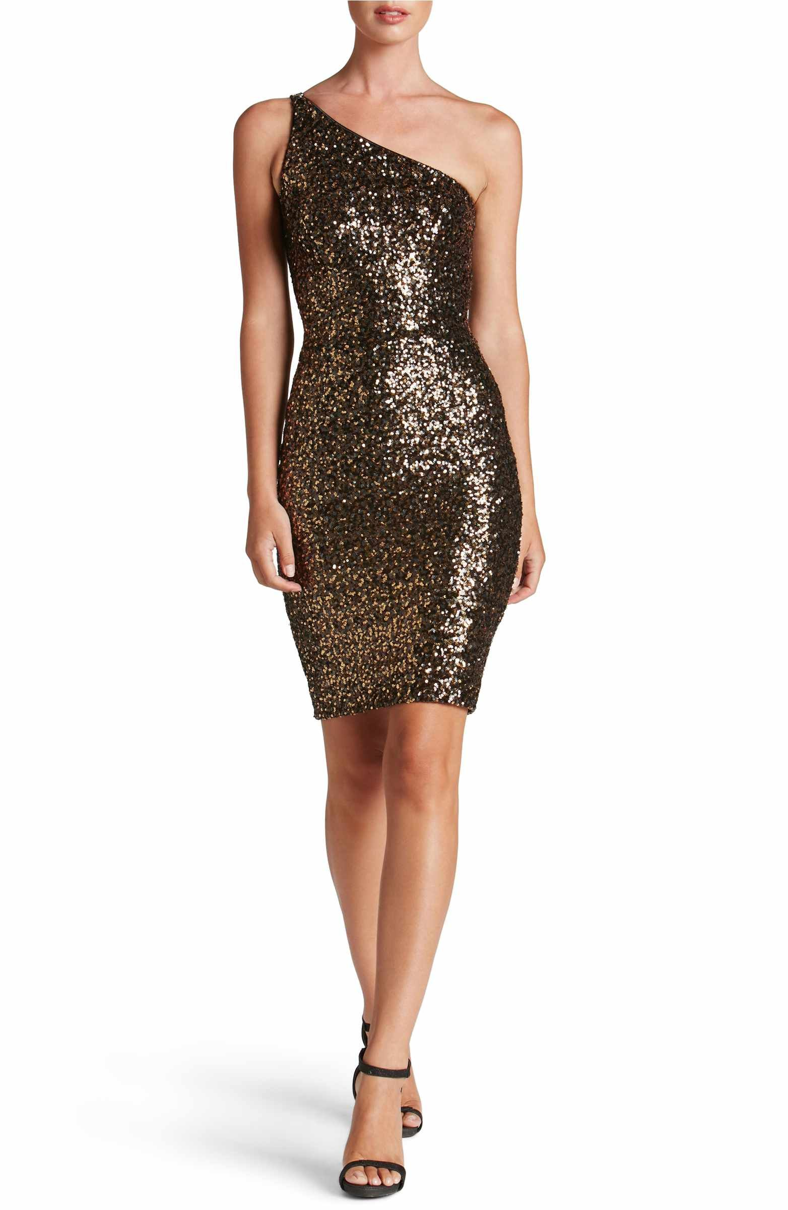 05675887 Main Image - Dress the Population Cher One-Shoulder Sequin Body-Con Dress
