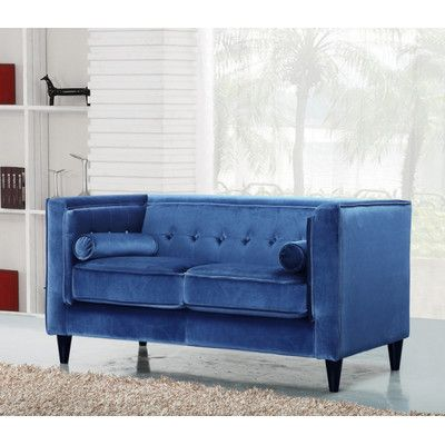 Meridian Furniture USA Taylor Velvet Loveseat Upholstery: Light Blue