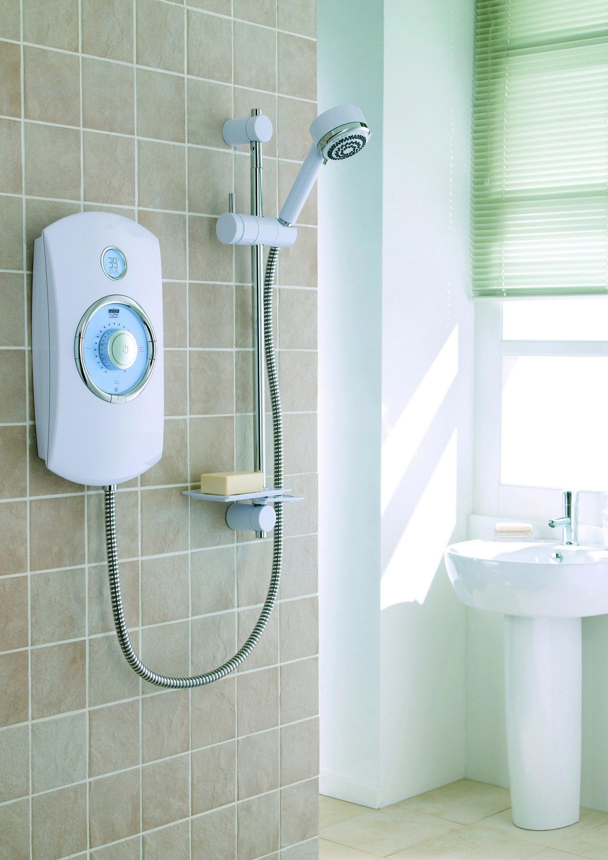 Mira Orbis Electric Shower - White Shower in a light bathroom ...