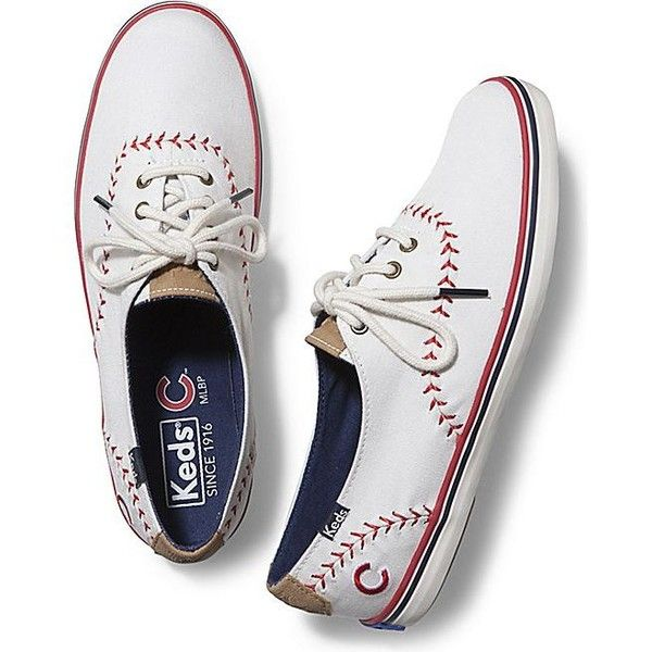 Keds CHAMPION MLB® PENNANT ($60) ❤ liked on Polyvore featuring shoes, sneakers, chicago cubs, vegan footwear, vegan sneakers, flexible shoes, faux leather shoes and keds