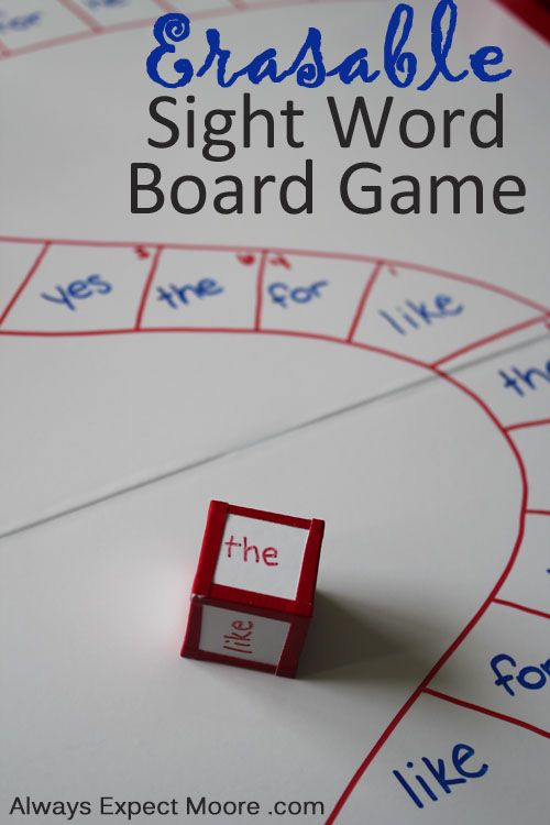 erasable sight word board game or leave blank with white board