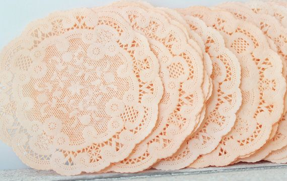 Paper Doilies Peach Hand Dyed 6quot French Lace Doilies