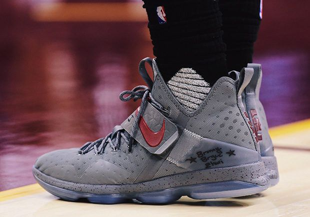 This Grey and Maroon colorway of the Nike LeBron 14 PE was worn be LeBron  this