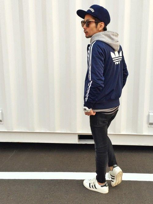 YUSUKE5さんの「メンズ アディダス ネイビー ジャージ adidas NAVY TRACK TOP(adidas originals)」を使ったコーディネート