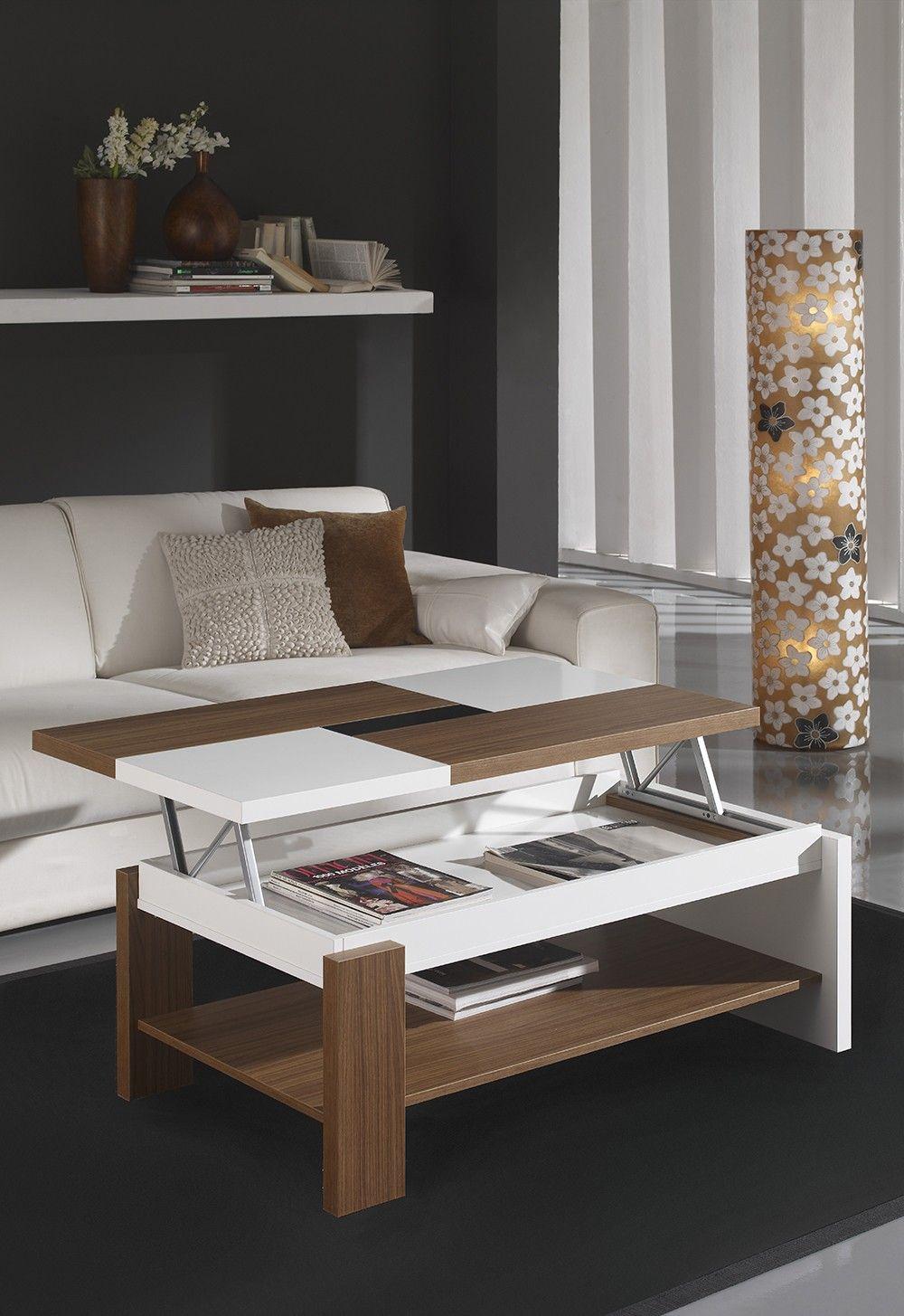 Table Basse Relevable Contemporaine Fabio Coloris Noyer Blanc Ceiling Design Living Room Center Table Living Room Refurbished Table