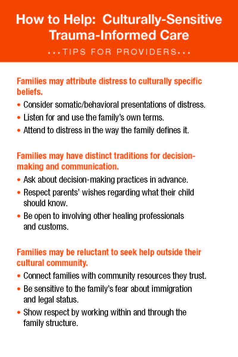 Culturally Sensitive Trauma Informed Care How to Help