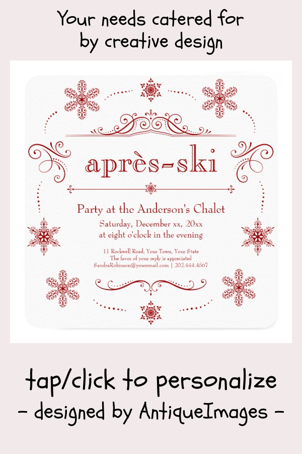 Chalet Winter Holiday Party or Après-ski Cocktails Invitation |  Chalet Winter Holiday Party or Après-ski Cocktails Invitation