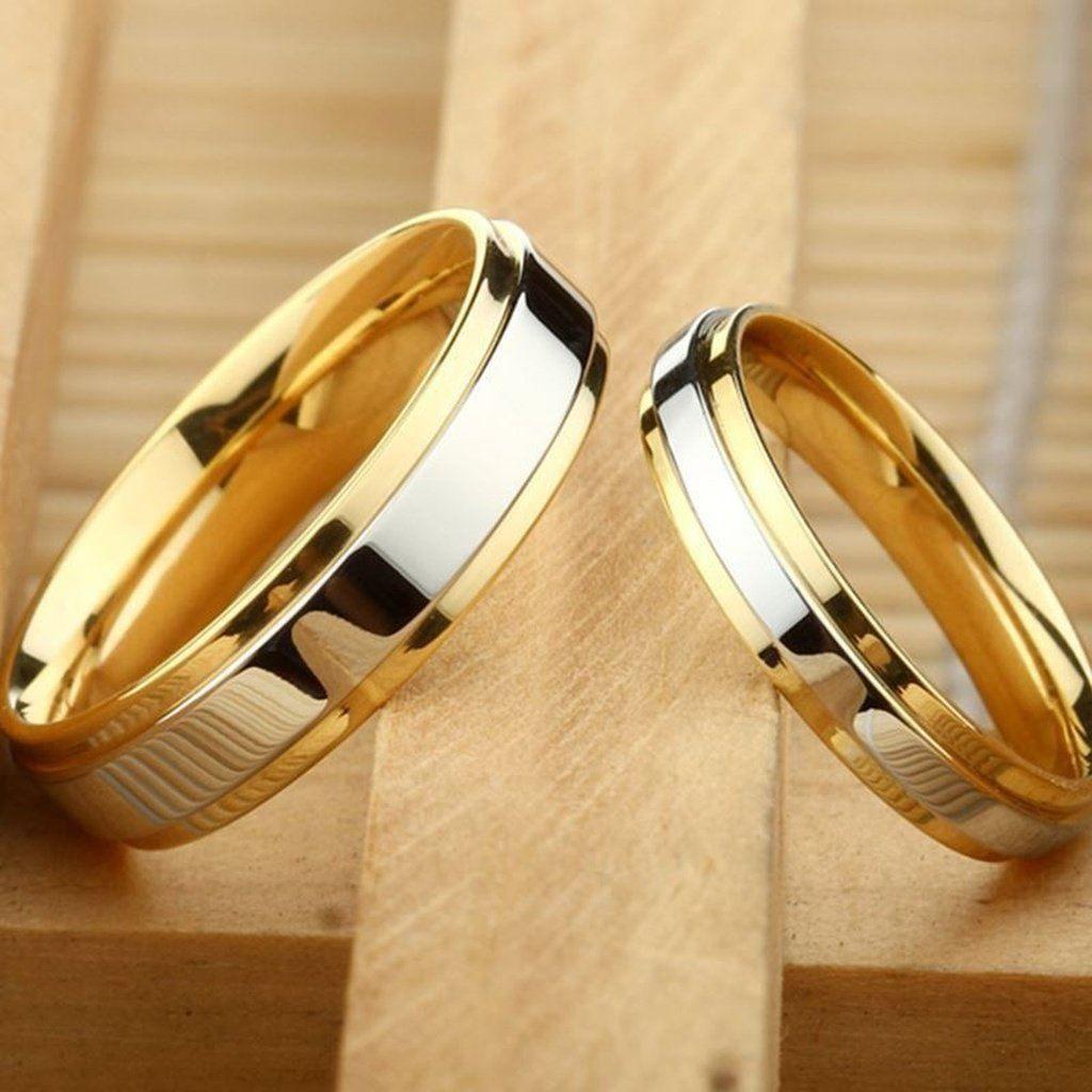 Luxury 18k Gold Wedding Rings Simple Design Couple Alliance Ring 4mm