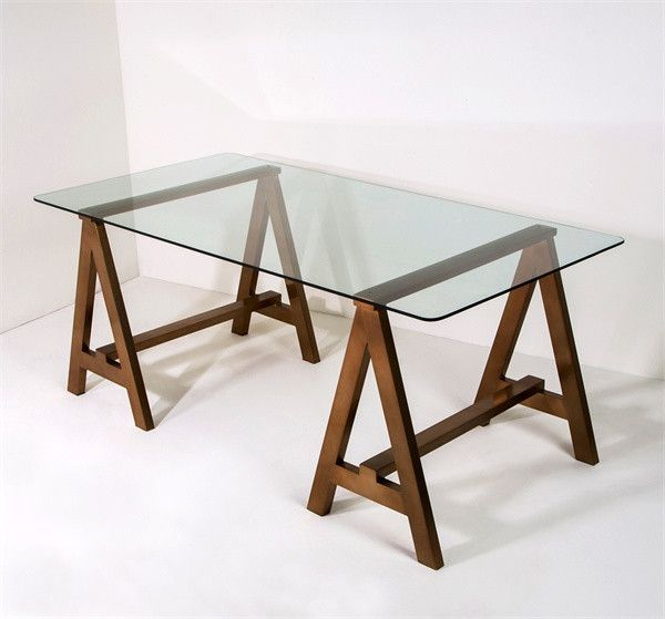 Interlude Valeria Sawhorse Desk Antique Br Metal Legs And A Gl Top Give Clic Sophisticated Wink Modish