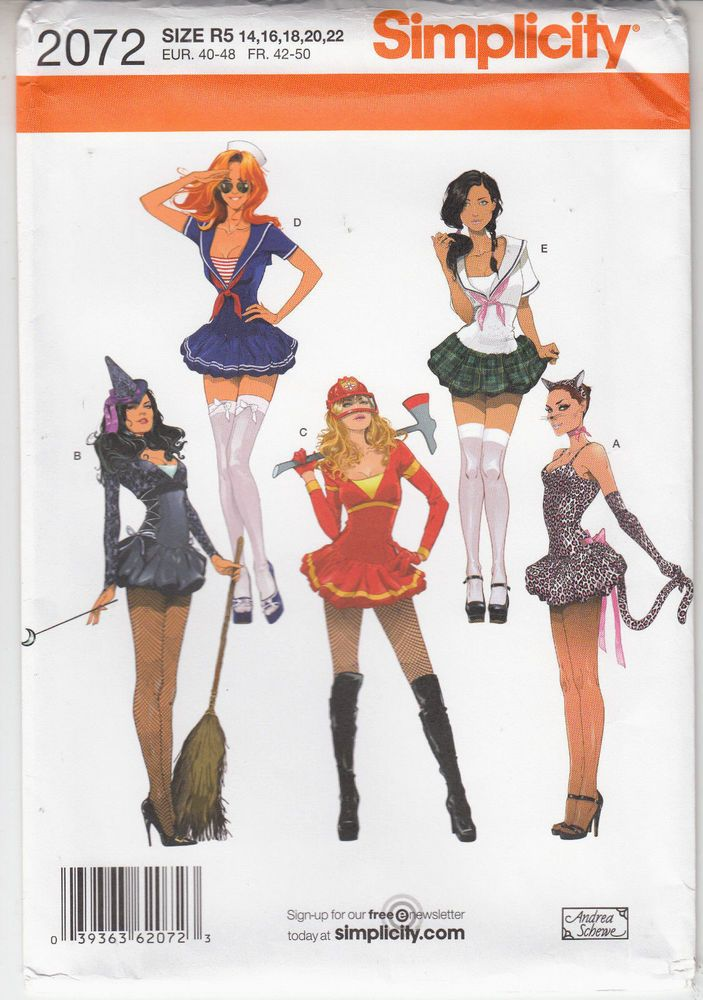 Sexy Halloween Costumes School Girl Witch Sailor Simplicity Pattern ...