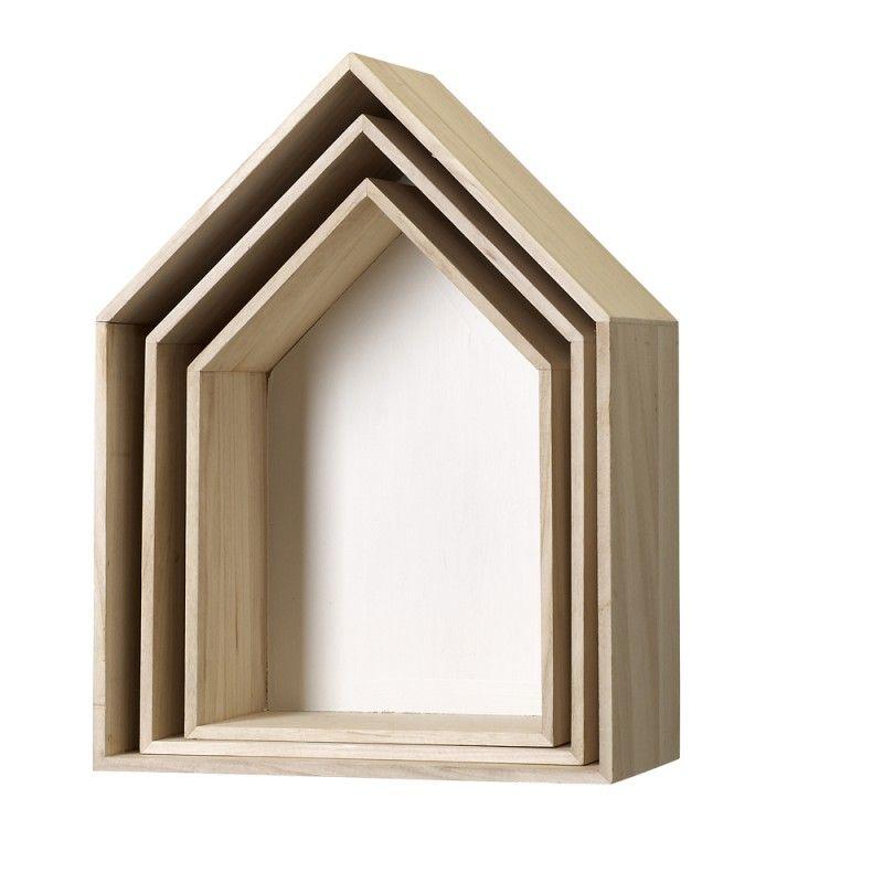 3er Set Haus Displays, Regalboxen, Regalmodule, Aus Holz/weiss, Von  Bloomingville