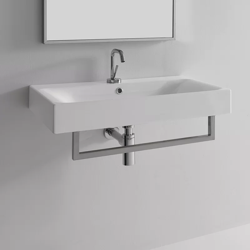 """Cento Ceramic 28"""" Wall Mount Bathroom Sink with Overflow ..."""