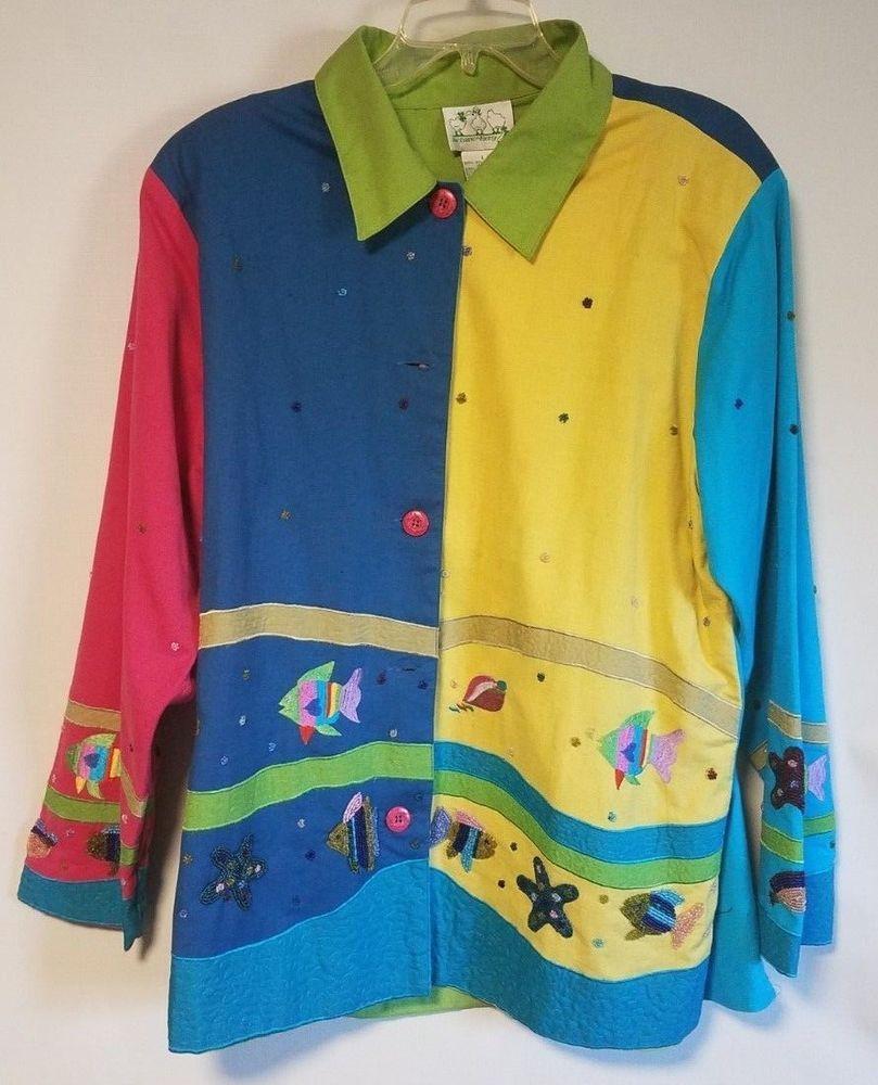 Quacker Factory Multi-Color Tropical Ocean Collared Designer Shirt