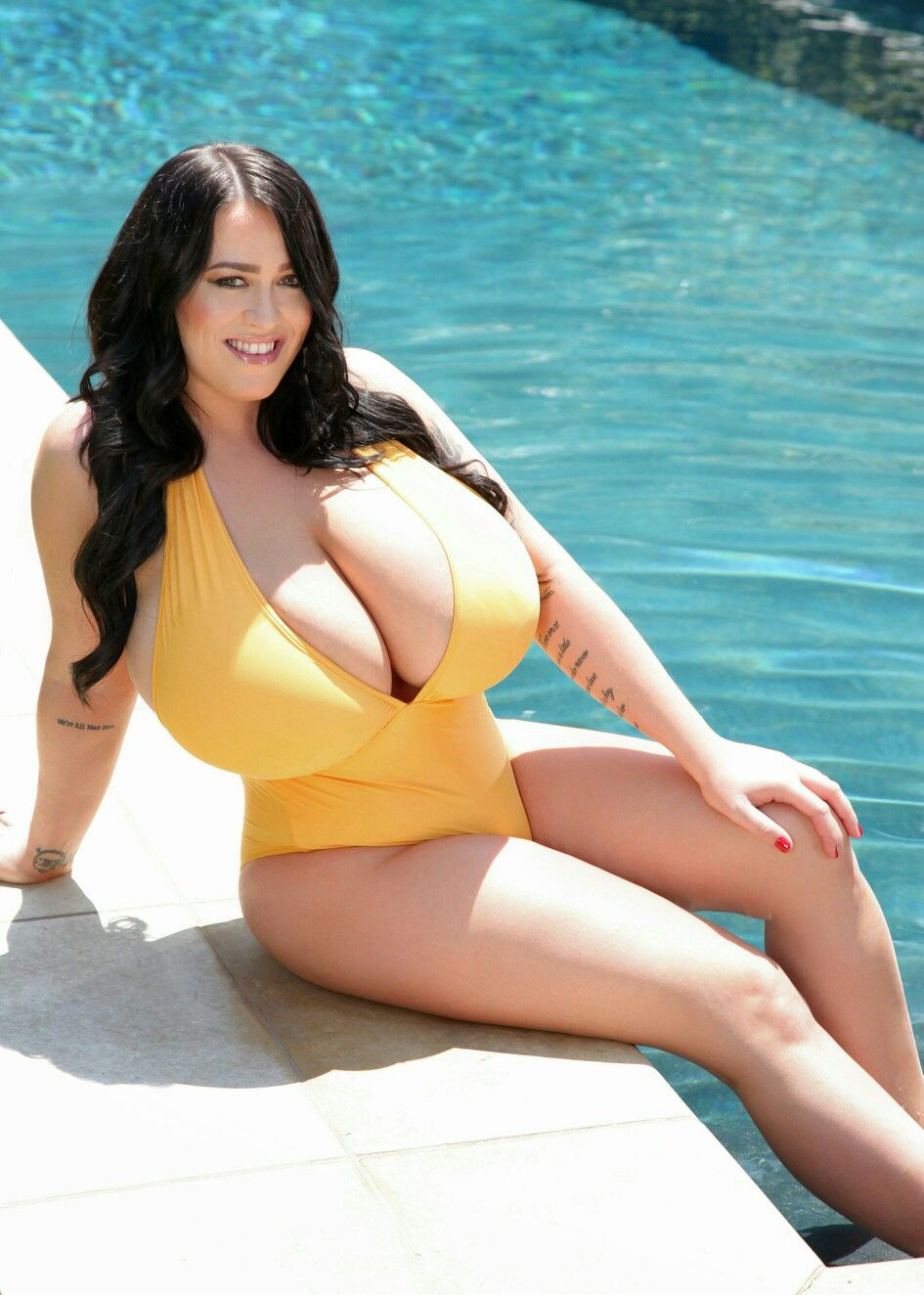 99a2b7c8ecfb7 Leanne Crow - yellow swimsuit - classic reclining pose Yellow One Piece,  Swimsuits, Bikinis